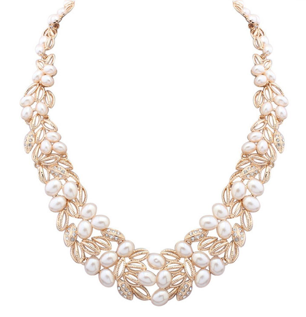 LINJIE JEWELRY Wedding Bridal Statement Necklace Pearl Floral Leaf Branch Layer Bib Collar Gold
