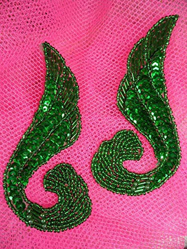 Kelly Green Swirl Mirror Pair Beaded Sequin Appliques AVE House DSKZZ-1063