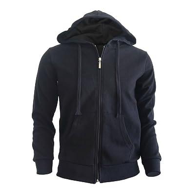 653be680b BCPOLO Men's Zip Hoodie Fleece Full Zip Cotton Plain Hoodie Jackets-Black L