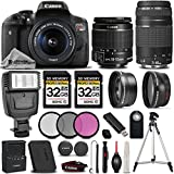 Canon EOS Rebel T6i / 750D 24.2 MP DSLR Camera + Canon EF-S 18-55mm f/3.5-5.6 IS STM Lens + Canon EF 75-300mm f/4-5.6 III Lens – All Original Accessories Included – International Version