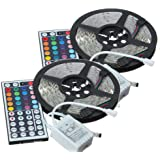 Fasclot LED Strips Lights 2Set 5M 16.4ft 5050 RGB SMD Non-Waterproof Strip Light 300 44 Key Remote DC for Home Decoration TV Bedroom Party Home Lighting Kitchen (Not Include Power
