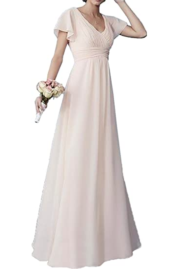 DressyMe Womens Chic Bridesmaid Dresses Prom Gown Sleeves-6-Beige