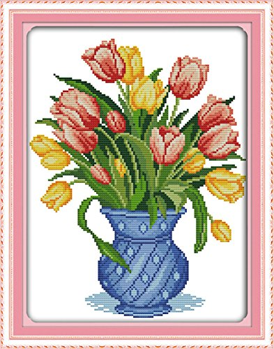 "eGoodn Stamped Cross Stitch Kits With Printed Pattern Flower - Tulip Vase, 14.6"" x 18.5"" 11CT Aida Fabric For Embroidery Art Cross-Stitching (Tulip Cross)"