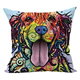 Decorative Pillow Cover - Sunward 2017 Dog Style Cotton Linen Canvas Decorative Square Throw Pillow Cover 18 x 18 (O)