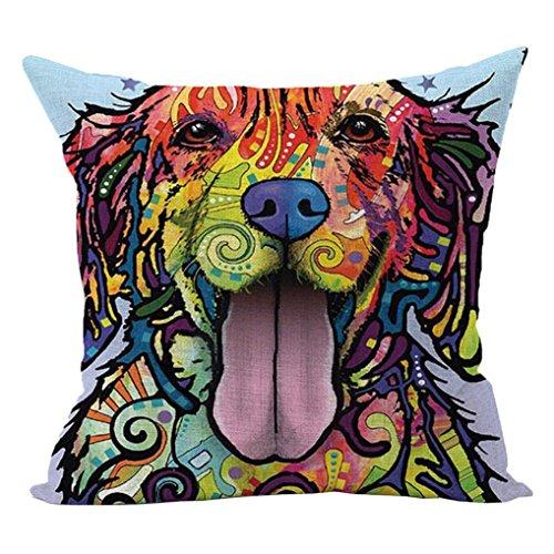 Sunward 2017 Dog Style Cotton Linen Canvas Decorative Square Throw Pillow Cover 18 x 18 (O)