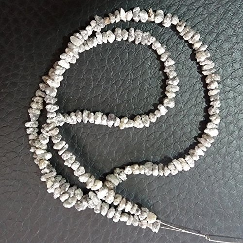 KIRANBEADS - 1 Strand AAA Quality Genuine Gray Diamond Rough Central Drilled Strand - Diamond Size 2.5-3mm - 16 Inches Long Strand