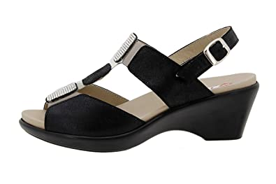 Komfort Damenlederschuh 1857 Sandale mit Herausnehmbarem Fußbett Bequem Breit PieSanto UJQvD7Br