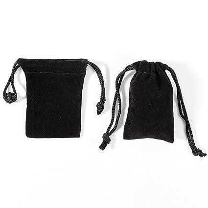 50pcs Bolsa de Organza Bolsitas de Terciopelo Negra para regalo Joyería pendientes pulsera colgante anillo (5x7cm)