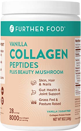 Best Collagen Peptides Powder Vanilla Flavored Keto Grass-Fed Protein Type 1 & 3, Joint Support Gut Health + Hair Skin Nails Beauty Tremella Mushroom Paleo Keto Sugar-Free (28 Servings)