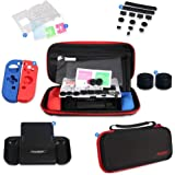 DOBE 7 IN 1 Protective Kit with Carrying Bag, Joy-con Silicone Case, Dust Cover, Grips for Nintendo Switch