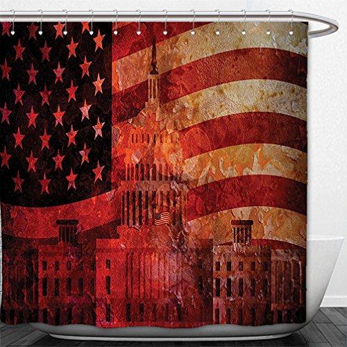 Interestlee Shower Curtain American Flag Decor Washington Capital Monument White House Republican Congress Senate Print Multi