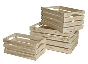 Perfect Wald Imports Whitewash Wood Decorative Storage Crates, ...