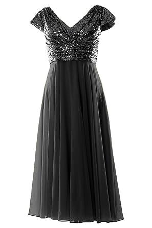 MACloth Cap Sleeve V Neck Sequin Chiffon Tea Length Bridesmaid Dress Formal  Gown (2,