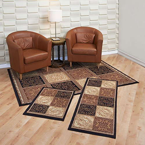 Achim Home Furnishings Capri 3-Piece Rug Set, Sarouk Squares