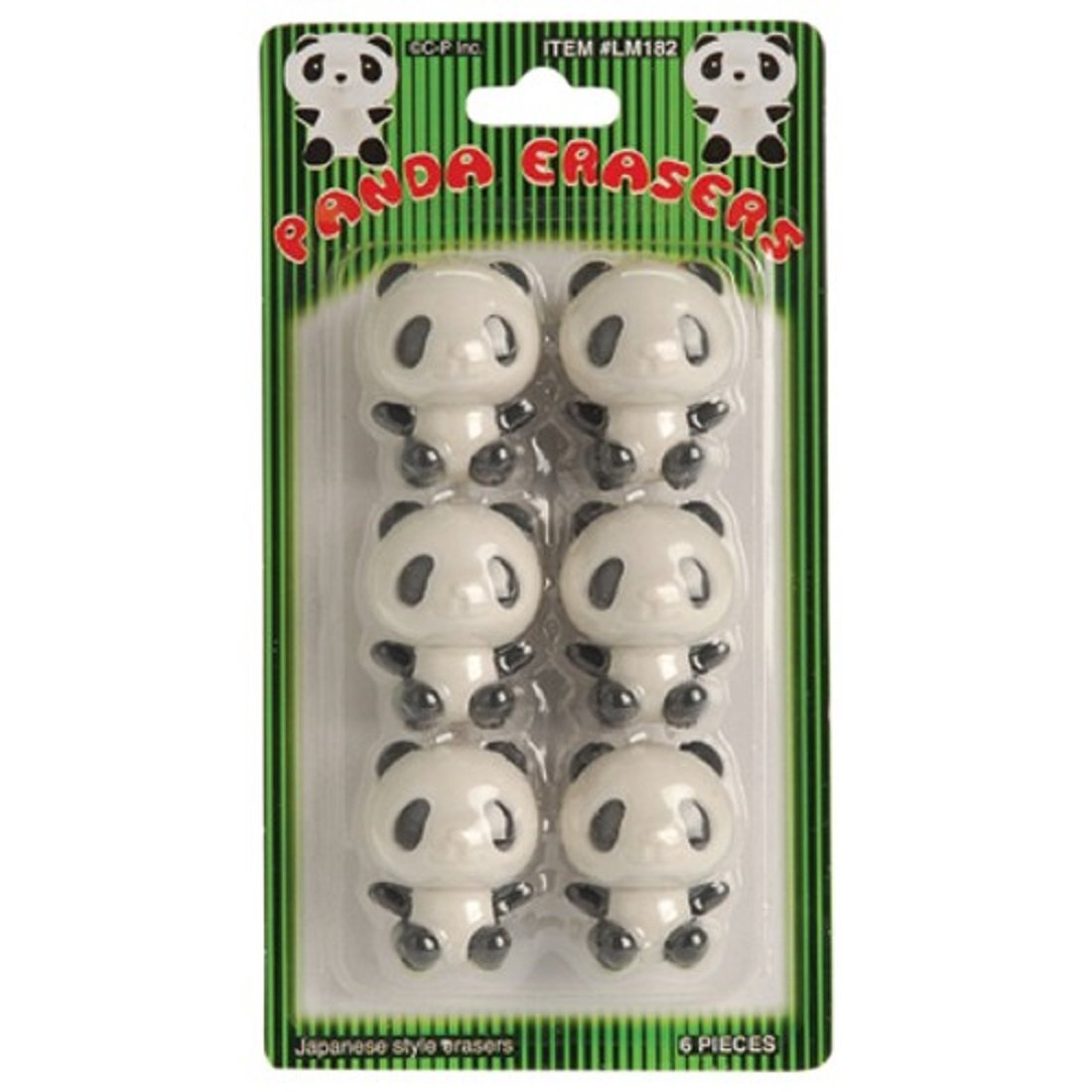 US Toy - Black & White Panda Theme Erasers, Size 1.5' (1-Pack of 6) Size 1.5 (1-Pack of 6) Toys & Child