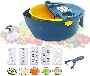 KOKO Multi-functional Vegetable Chopper with Peeler, Egg Yolk Separator, Hand Protector and Dewaterer. Manual Onion Cutter for Salad, Potato, Tomato, Carrot, Fruit, Garlic Slicer - 5 Blades