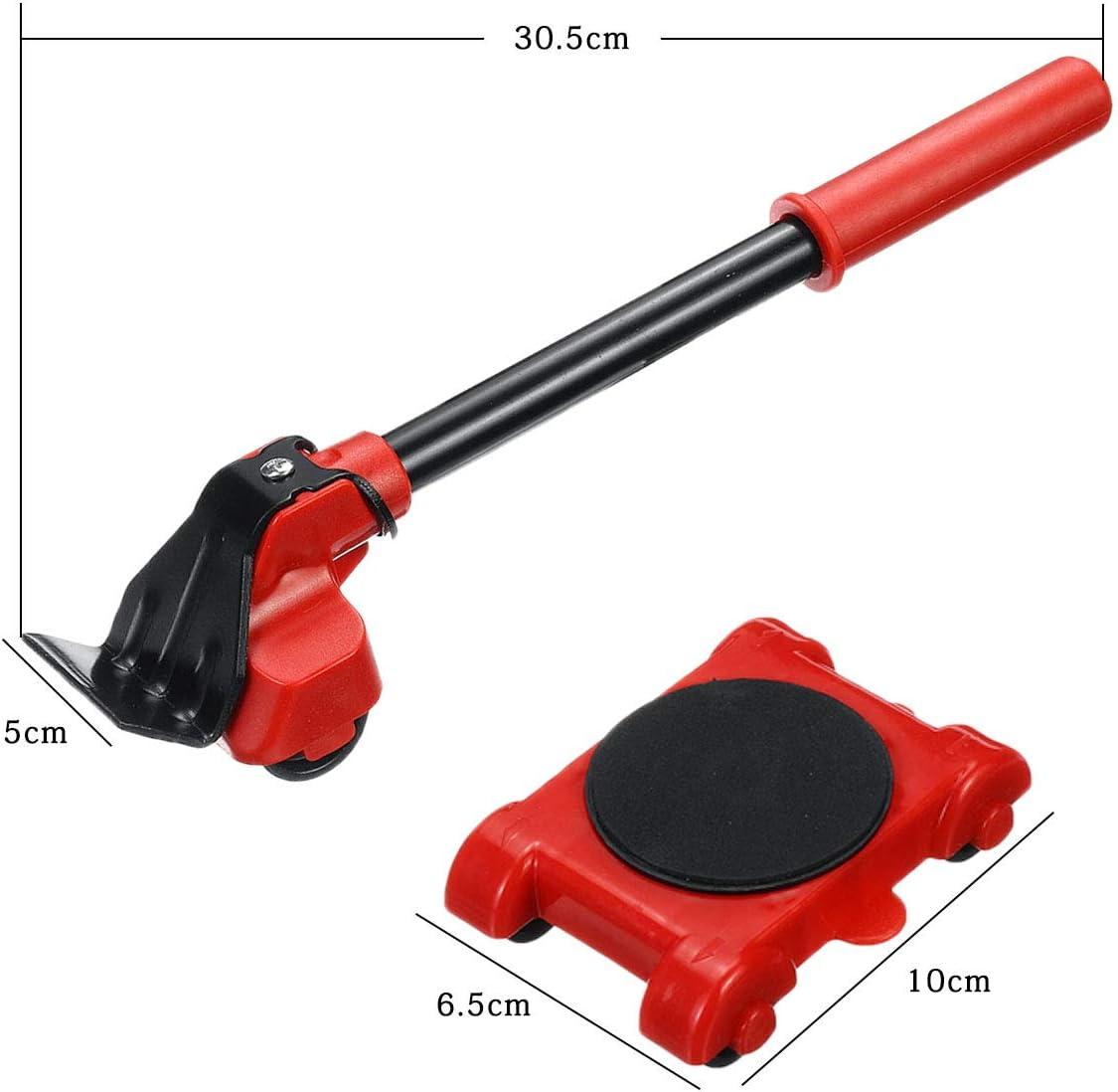 GEMITTO Juego de ruedas deslizantes para muebles pesados de, kit de rodillos para mover muebles; juego de herramientas para levantar muebles 4 ruedas almohadillas giratorias de 360 grados