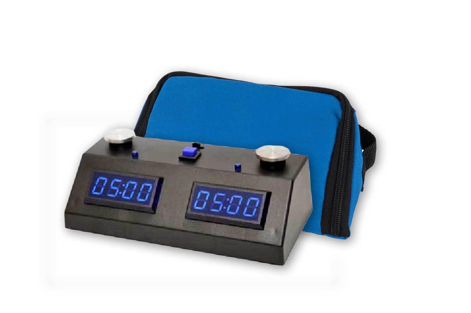ZMart Fun II Digital Chess Clock - BLACK/BLUE with Wedge Bag