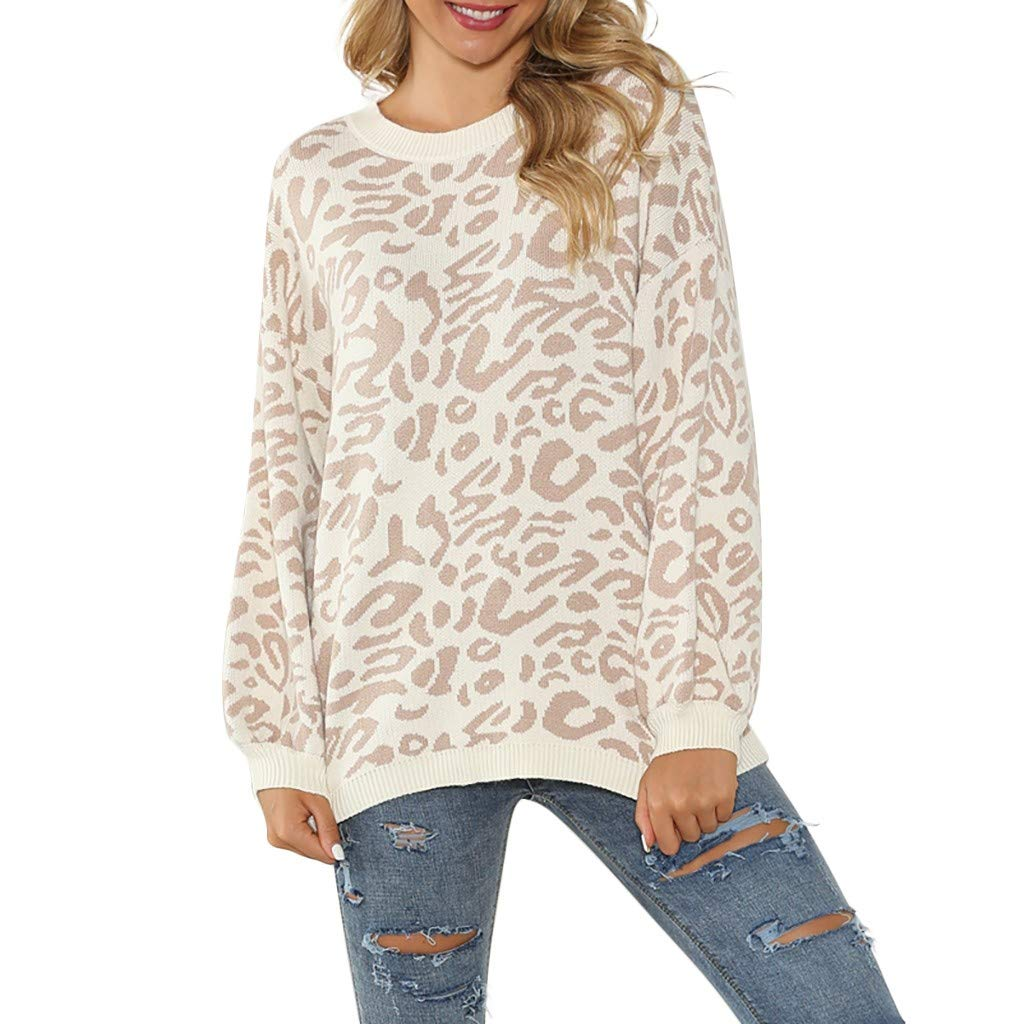 〓COOlCCI〓Women's Oversized Casual Leopard Print Long Sleeve Crew Neck Knitted Pullover Sweaters Tops Blouse Sweatshirt Khaki by COOlCCI_Womens Clothing