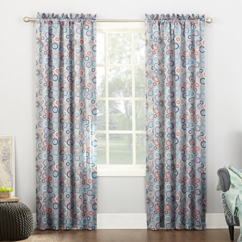 Cheap Sun Zero Celestia Circular Print Energy Efficient Grommet Curtain Panel, 54″ x 63″, Gray