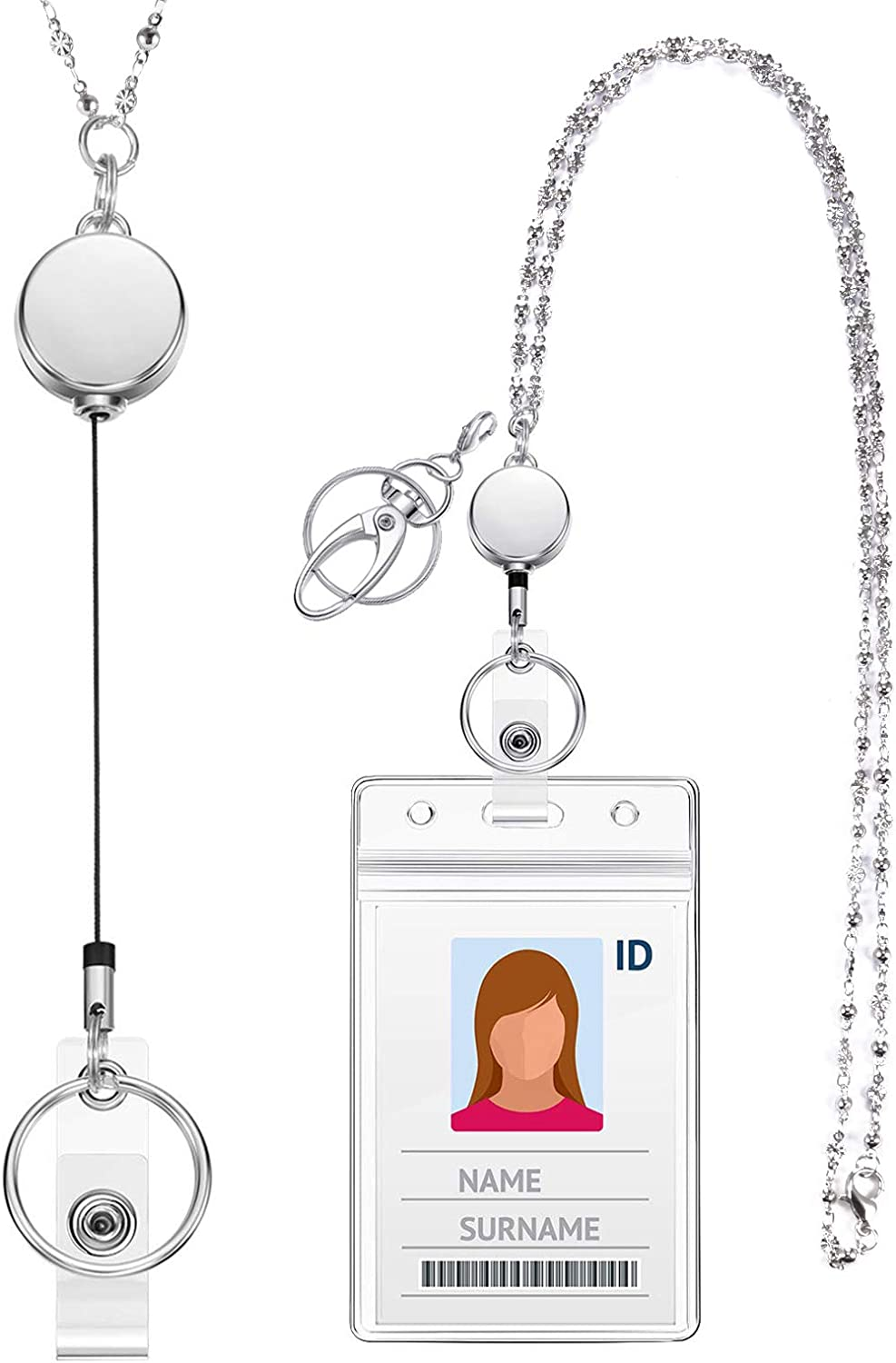 Card Holder Retractable Crystal   Necklace  Hanging Rope  Neck Strap  Lanyard