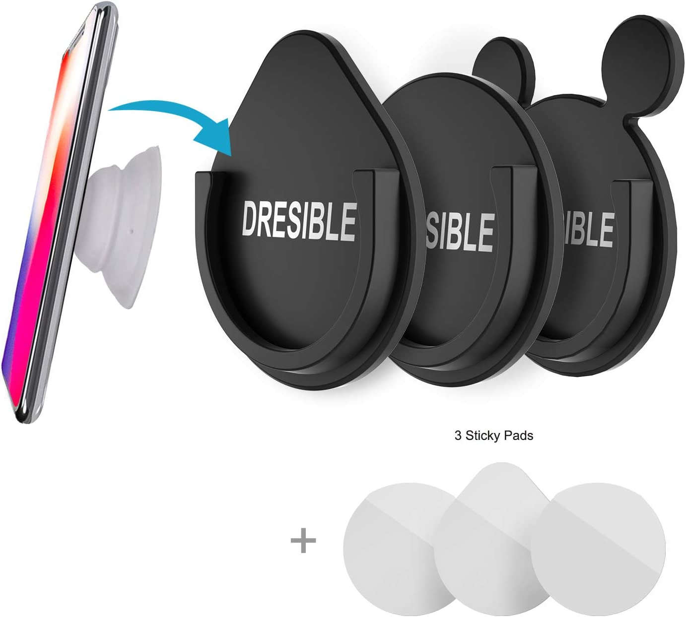 3 Pack Car Phone Mount for Socket Stands and Grips,DRESIBLE Universal Phone Grip Mount with Heavy Duty Adhesive Sticks Car Phone Holder for Dashboard Office Bathroom Kitchen