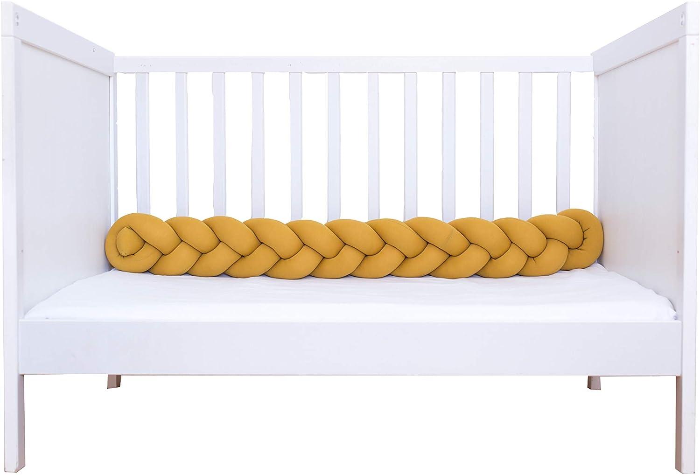Foto Prop VIVILINEN 3M Trenza Protector de Cuna Parachoques Cuna Chichonera para Proteger Bebe y Decorar la Cuna Suave Coj/ín Infantil para Decoraci/ón Gris