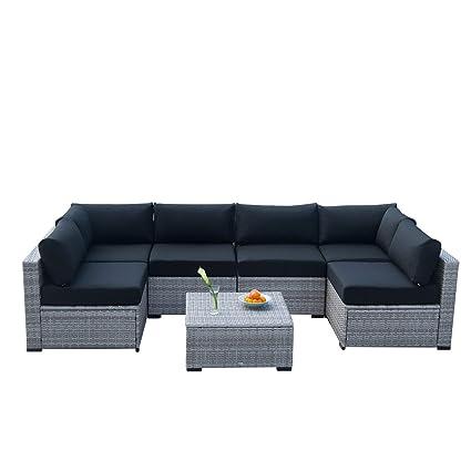 Amazon Com Auro Outdoor Furniture Sectional Sofa Conversation Set