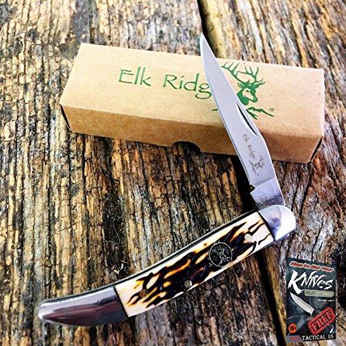 ELK RIDGE Brown Bone TOOTHPICK Straight Folding POCKET Elite Knife New! ER-110I + free eBook by ProTactical
