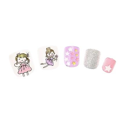 Claires Disney-Lote De 24 De uñas De color rosa con lentejuelas, diseño De