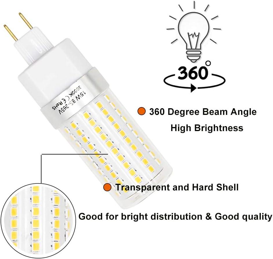 Daylight 6000K, 2-Pack 15W LED G8.5 Corn Light Bulbs Lustaled 120V G8.5 Socket LED Corn Bulb Lamp 150W Equivalent for Under-Cabinet Lighting Desk Lamps Puck Lights