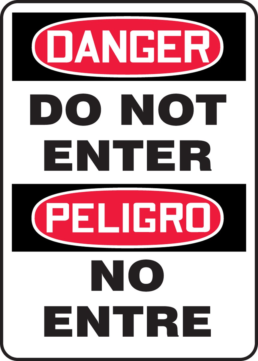 Red//Black on White 20 Length x 14 Width x 0.055 Thickness LegendDANGER DO NOT ENTER//PELIGRO NO ENTRE Accuform SBMADM129VP Plastic Spanish Bilingual Sign