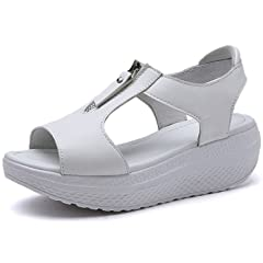 a93d593f703 JARLIF Women s Leather Platform Heeles Sandals Summer Peep Toe Zipper Wedges  Walking Sneaker Shoes US5.5-10 - Casual Women s Shoes