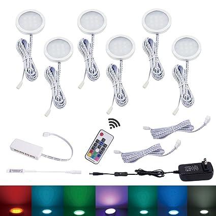AIBOO RGB Color Changing LED Under Cabinet Lighting Kit 6 Packs Aluminum  Slim Cabinet LED Puck