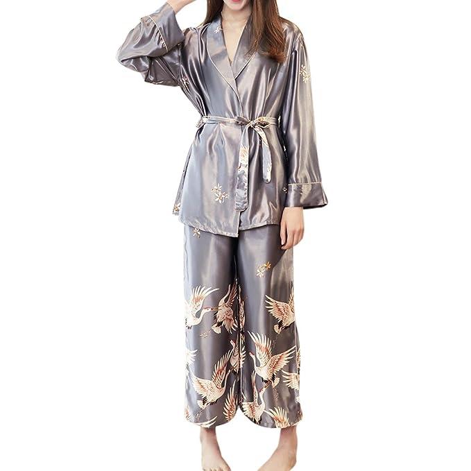 Zhuhaitf De las mujeres Lujoso Manga larga Satín Sedoso Pijama Conjuntos Patrón de impresión Ropa de