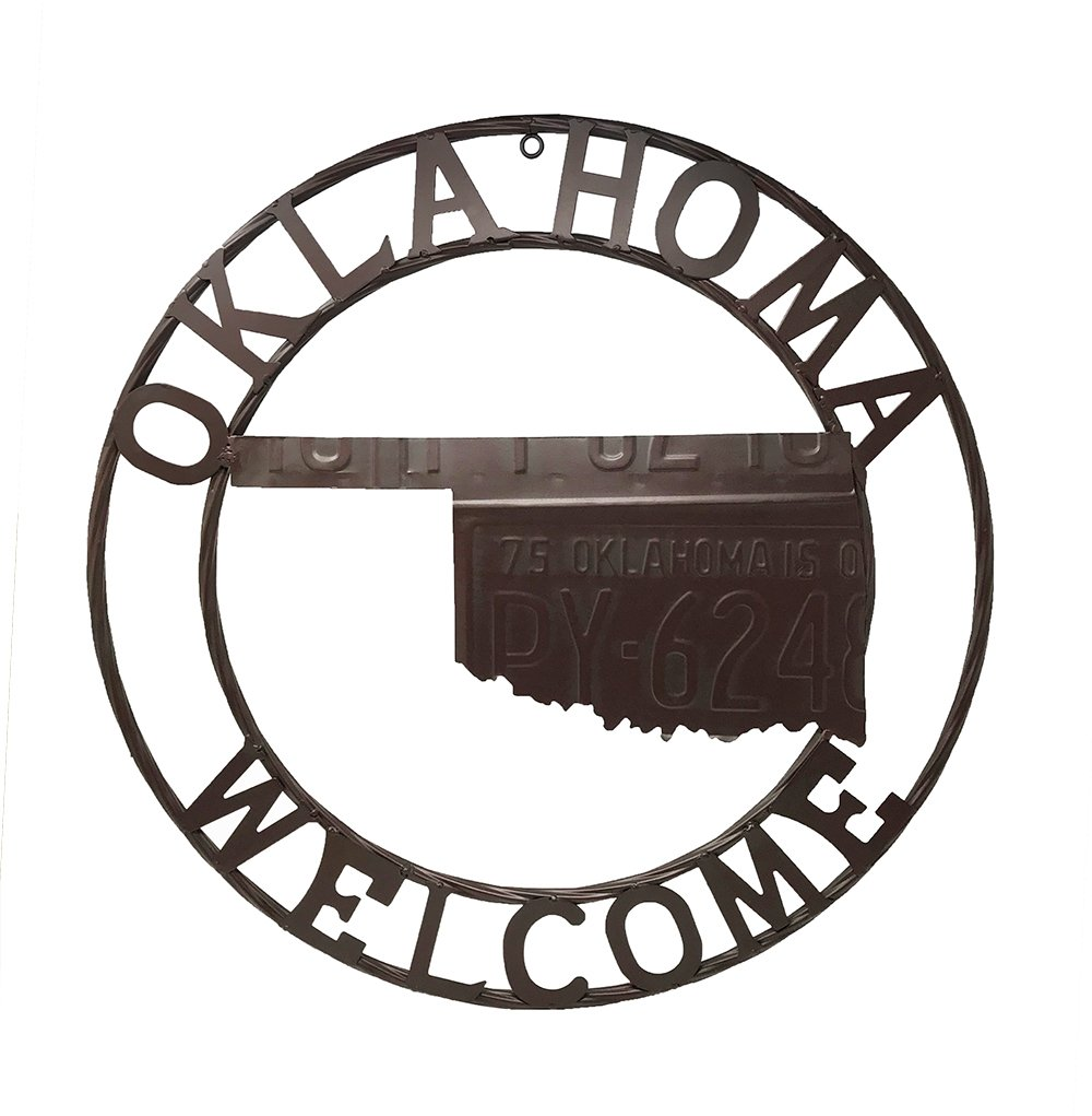 "OK Oklahoma State Flag 12/"" Round Metal Sign US Patriotic Man Cave Home Decor"