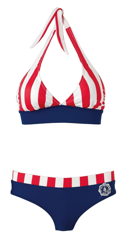 BECO Bikini Marine-Style in weiss/blau/rot mit B-Cup 40