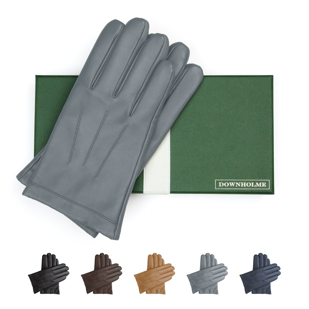 Downholme Leather Cashmere Lined Gloves for Men (Gray, L)