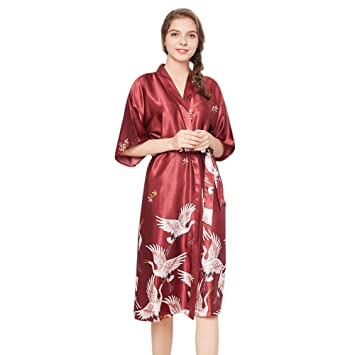 8ebf09ed73 Womens Long Robe Lingerie for Sex Big Sale- Jiayit Lingerie Women Satin  Printed Robe Cloth