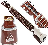 Dilruba Hand Made Indian, 4 Main String, 15 Sympathetic String, Tun Wood, Beautiful Craft Work, Sweet Sound, Natural Wood Colour, With Bow, Extra String & Rosin For Bhajan, Kirtan, Raaga, Beginner Qu