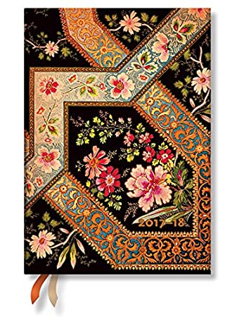 Filigree Floral Ebony Academic Midi Week-At-A-Time Planner 2017-18 by Paperblanks