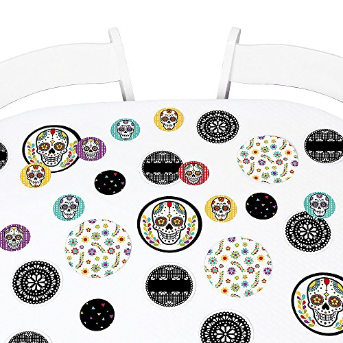Day of The Dead - Halloween Party Giant Circle Confetti - Sugar Skull Party Decorations - Large Confetti 27 Count