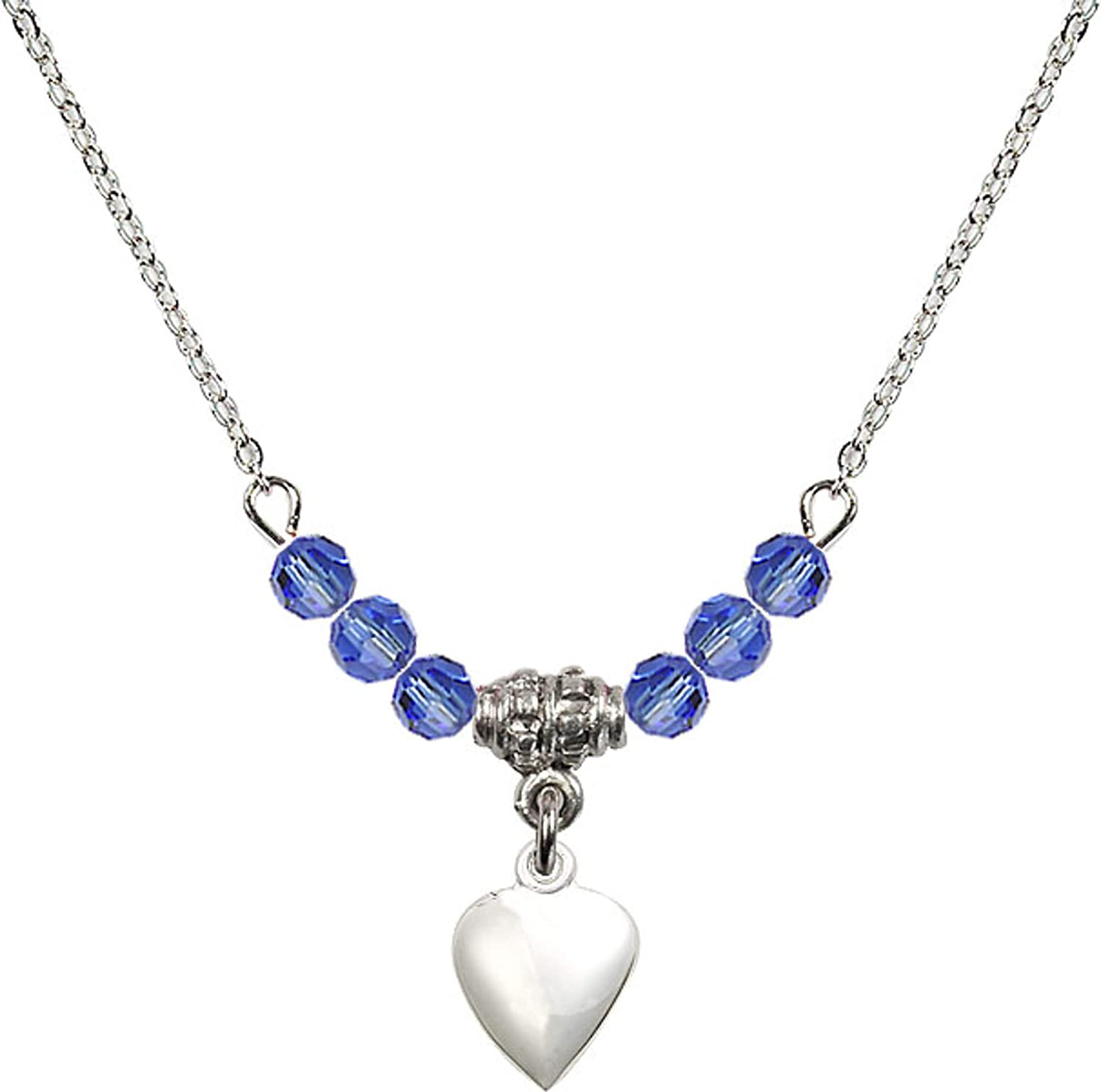 Bonyak Jewelry 18 Inch Rhodium Plated Necklace w// 4mm Blue September Birth Month Stone Beads and Heart Charm