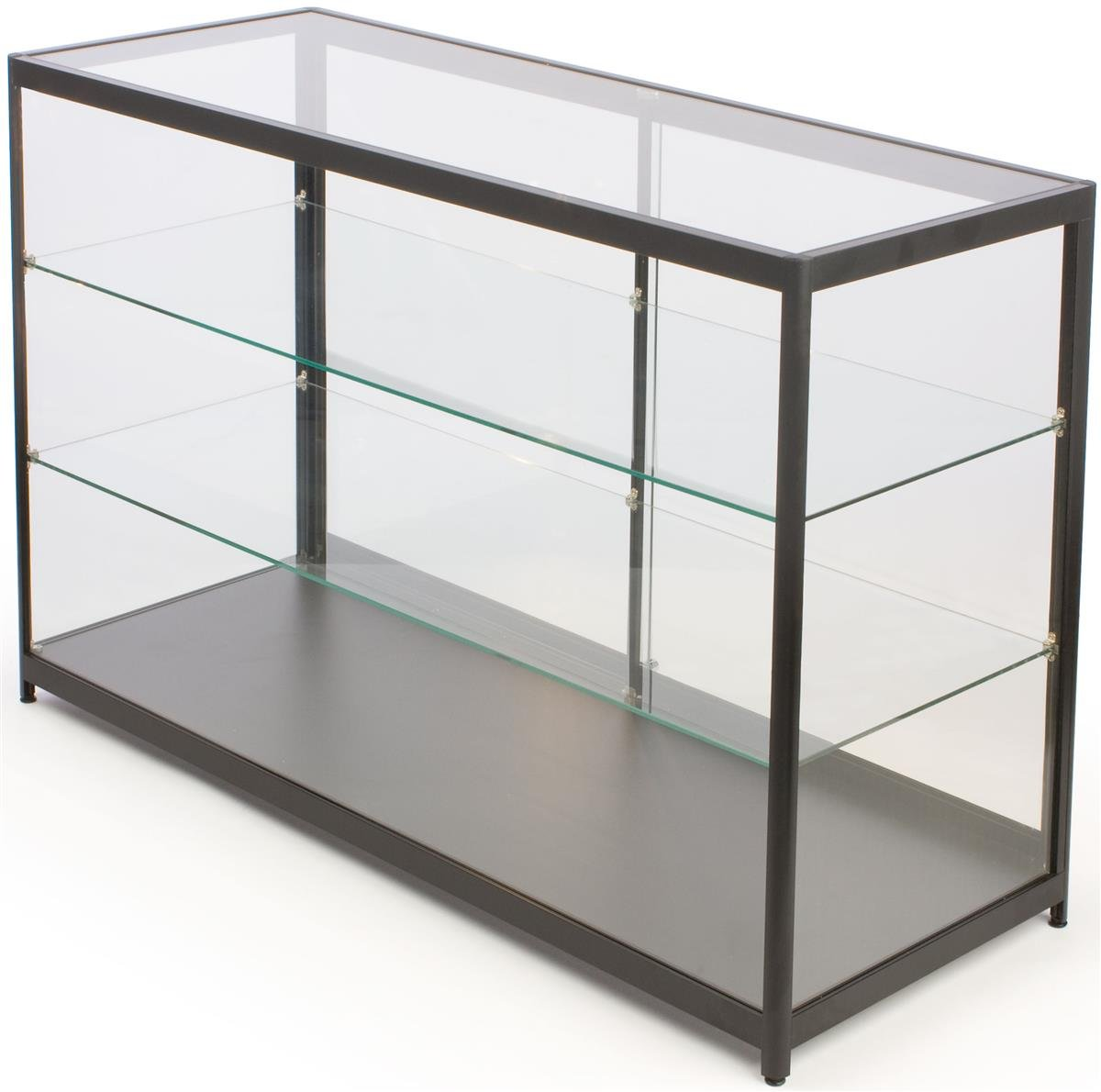 Free-Standing Glass Display Case, Framed in Black Aluminum, with Locking Sliding Glass Doors