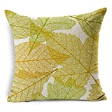 img - for AS Autumn Leaves Polyester Cotton Linen Throw Pillow Case Cushion Cover Pillowcase,Maple Leaf Ginkgo leaf Yellow and Red Color 18 by 18 inches  book / textbook / text book