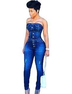 346246e06b8 Jueshanzj Womens Denim Jumpsuit Sleeveless Off Shoulder Skinny Jeans  Siamese Trousers