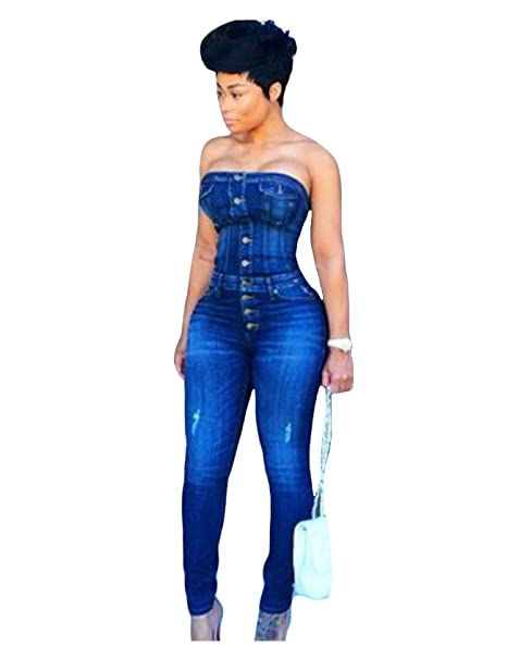 232eb0198 Amazon.com  Jueshanzj Womens Denim Jumpsuit Sleeveless Off Shoulder Skinny Jeans  Siamese Trousers  Clothing
