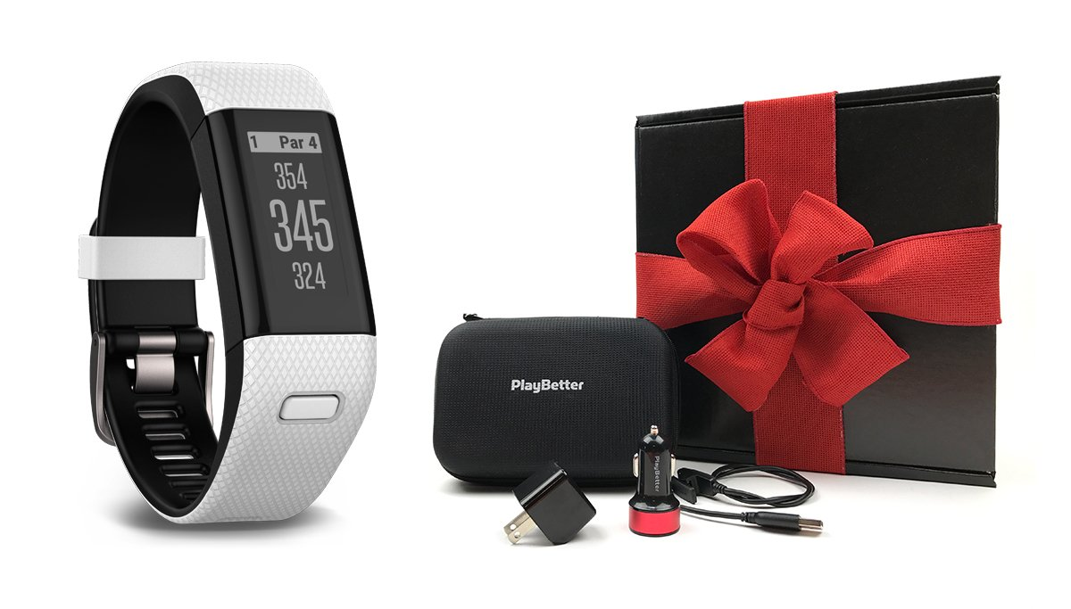 Garmin Approach X40 (White/Black) Gift Box Bundle | Includes Golf GPS/Fitness Band, PlayBetter USB Car & Wall Charging Adapters, Protective Hard Carrying Case | Black Gift Box and Red Bow