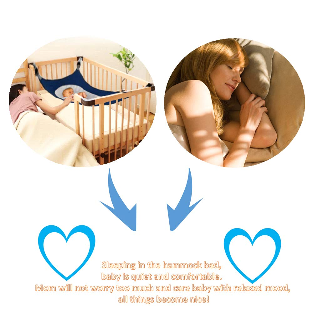 Newborn Baby Hammock for Crib Kids Hammock Baby Crib Hammock for Crib Bassinet Hammock Bed Infant Safety Bed Strong Oxford Material with Double-Layer Breathable Supportive Mesh 33lbs (Dark Blue) by Tforester Ⓡ US (Image #2)