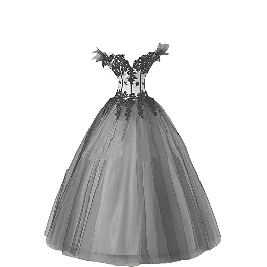 Kivary Womens White And Black Gothic Wedding Dresses Ball Gown